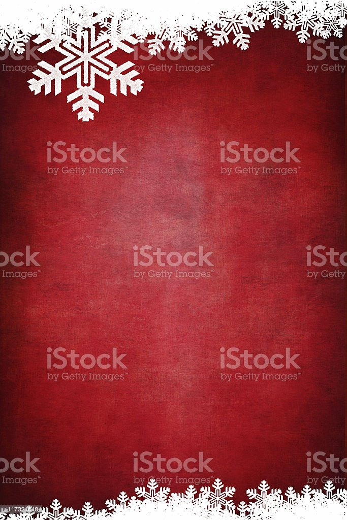 Vertical Grungey red background with white snowflake border stock photo
