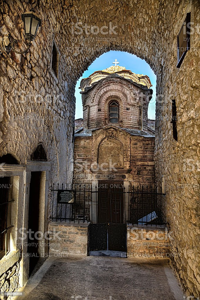 Vertical HDR view of Agioi Apostoloi in Pyrgi, Chios, Greece. stock photo