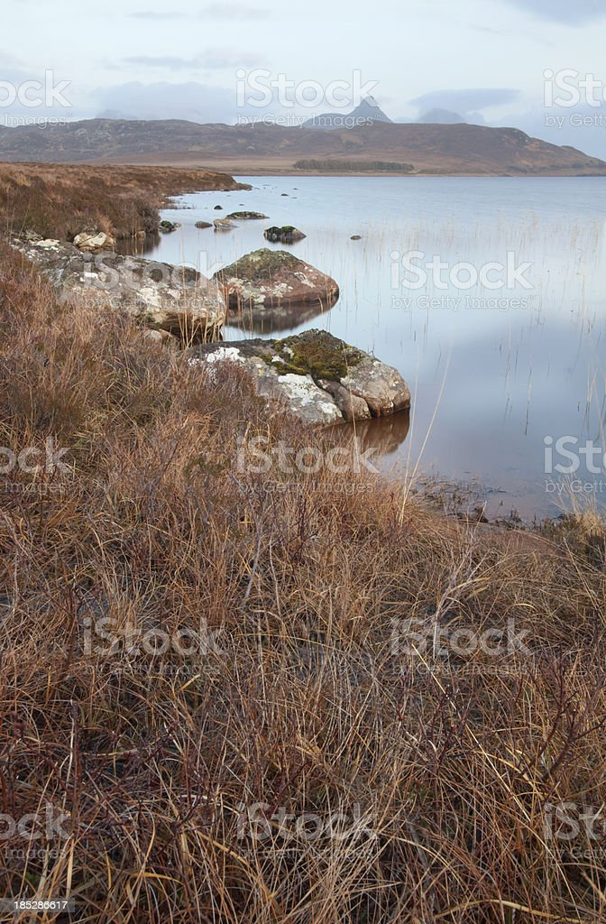 Vertical image of a Scottish loch in the Highlands stock photo
