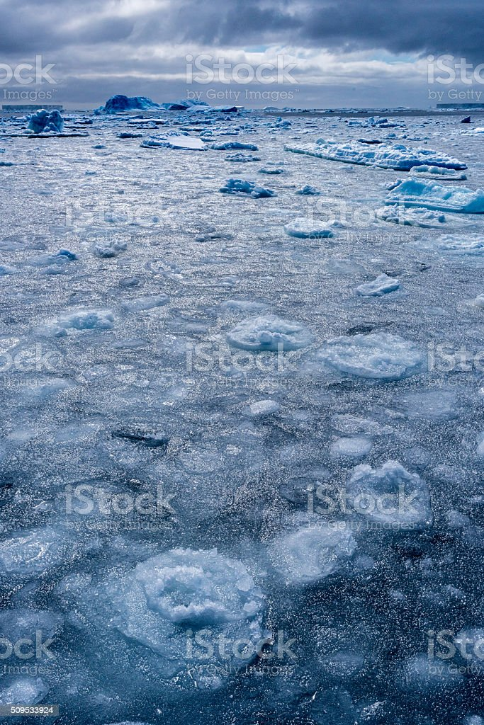 Vertical image of  sea ice covered Antarctic Ocean stock photo