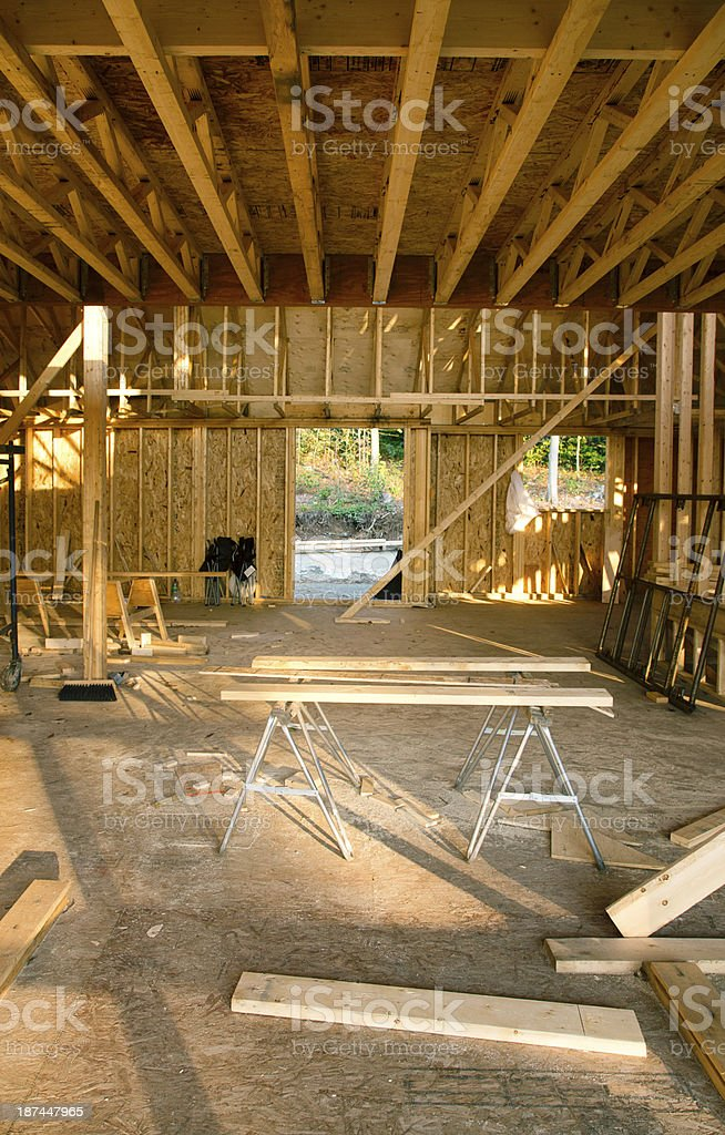 Vertical Interior house construction site stock photo