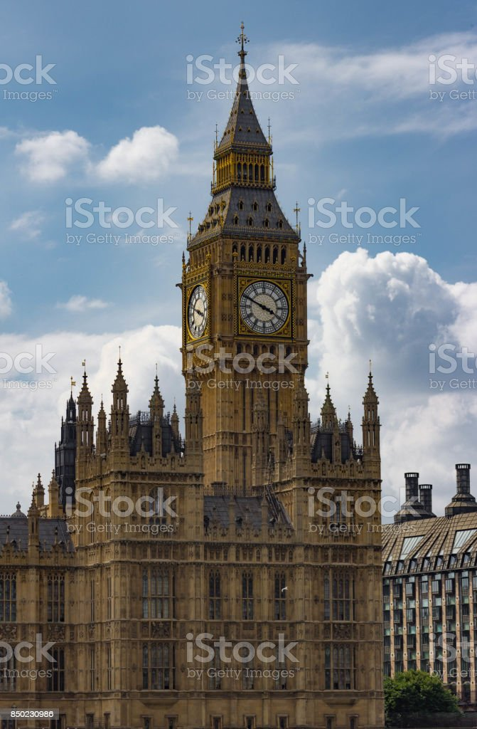 Vertical Isolated View of Big Ben stock photo