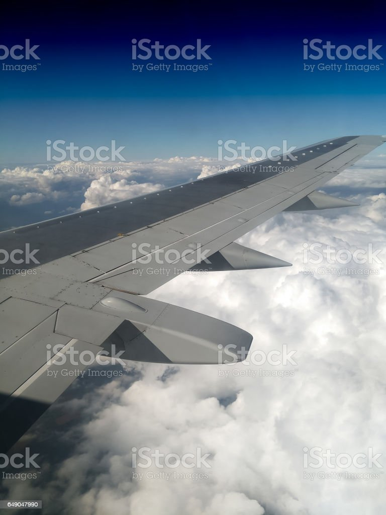 Vertical jet wing background stock photo