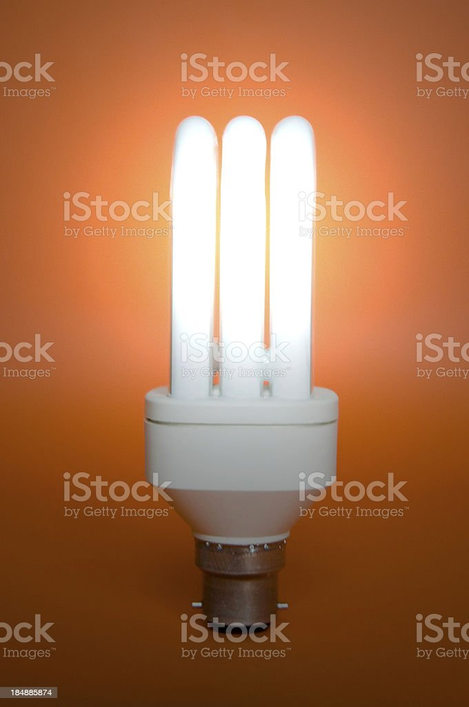 Vertical, Low Energy Light Bulb stock photo