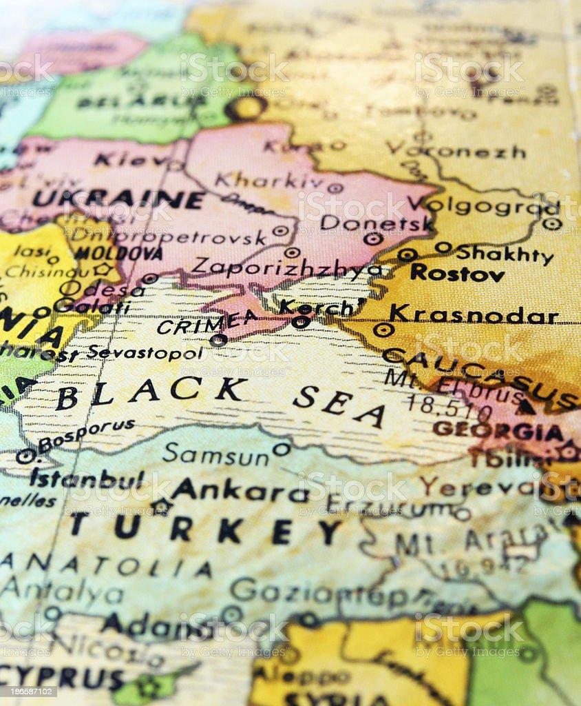 Vertical Map of Black Sea, Ukraine, and Turkey stock photo