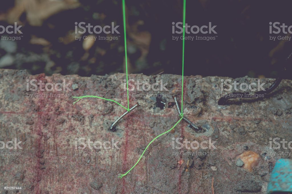Vertical measuring rope stock photo