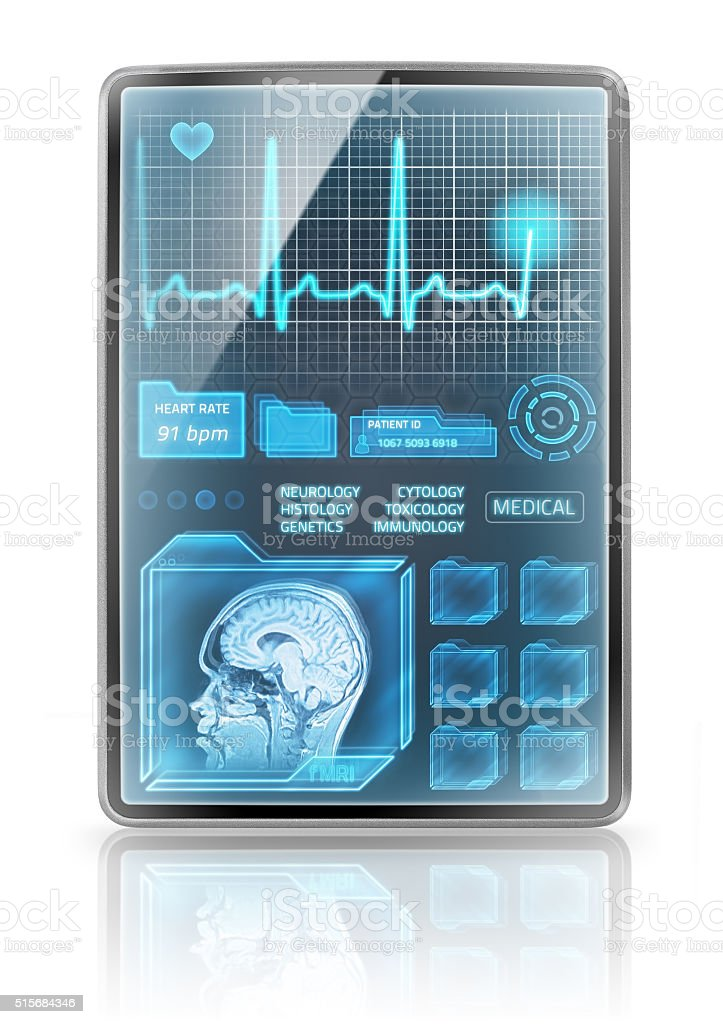 Vertical medical tablet stock photo