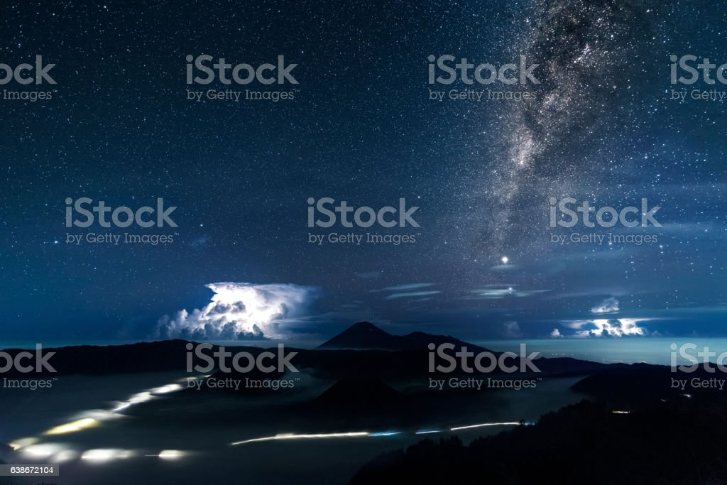 Vertical Milky way galaxy and thunder storms over Mount. Bromo stock photo