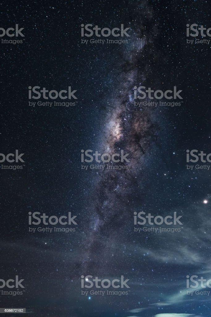 Vertical Milky way galaxy at night stock photo