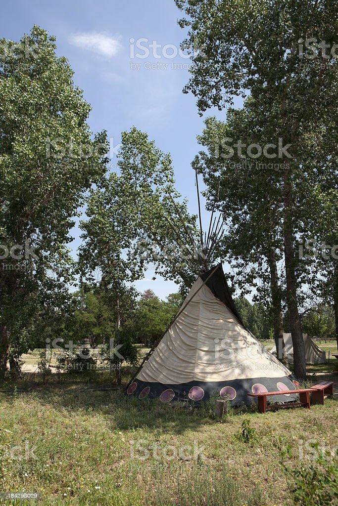 Vertical Native American Tipi in Cottonwood Trees Denver Colorado stock photo