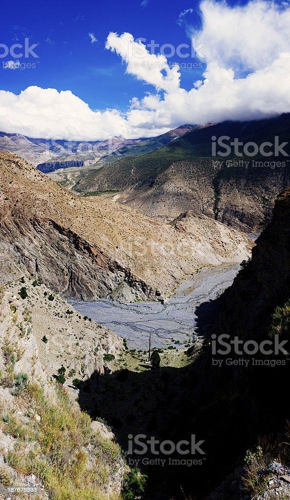 Vertical panorama of himalayan landscape. stock photo