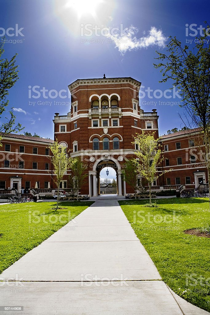 Vertical panorama of the OSU Weatherford Building stock photo