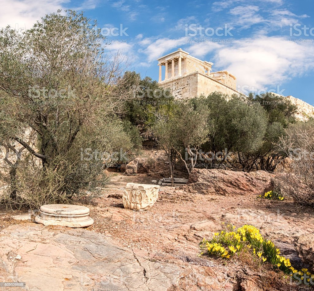 Vertical panorama on Acropolis of Athens in Fall stock photo