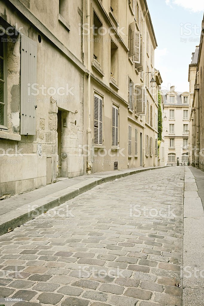 Vertical Parisian alley background stock photo