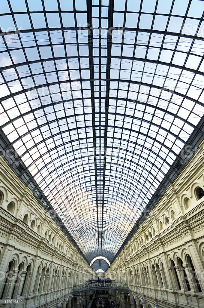 Vertical Perspective Glass roof skylight of long building royalty-free stock photo