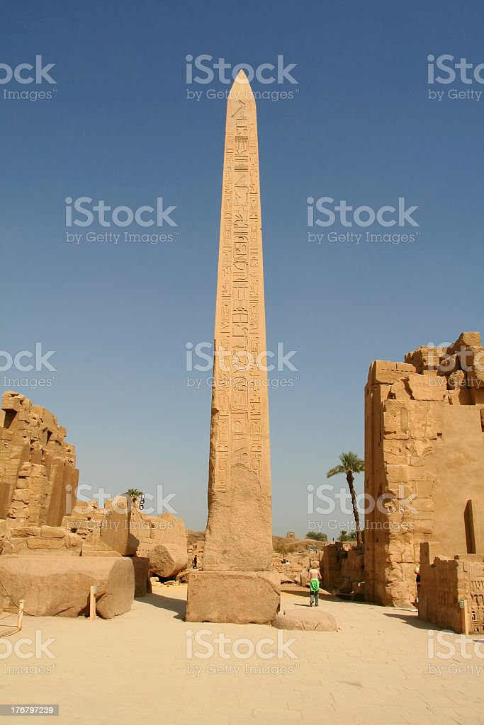 A vertical photo of the Obelisks Luxor in Egypt stock photo