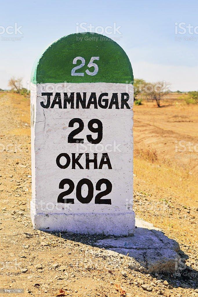 Vertical Portrait landscape Jamnagar milestone India royalty-free stock photo