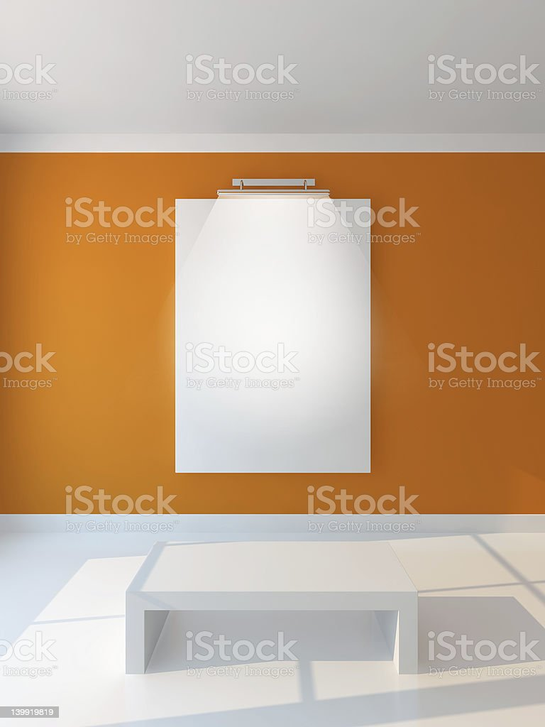 vertikal poster orange wall stock photo