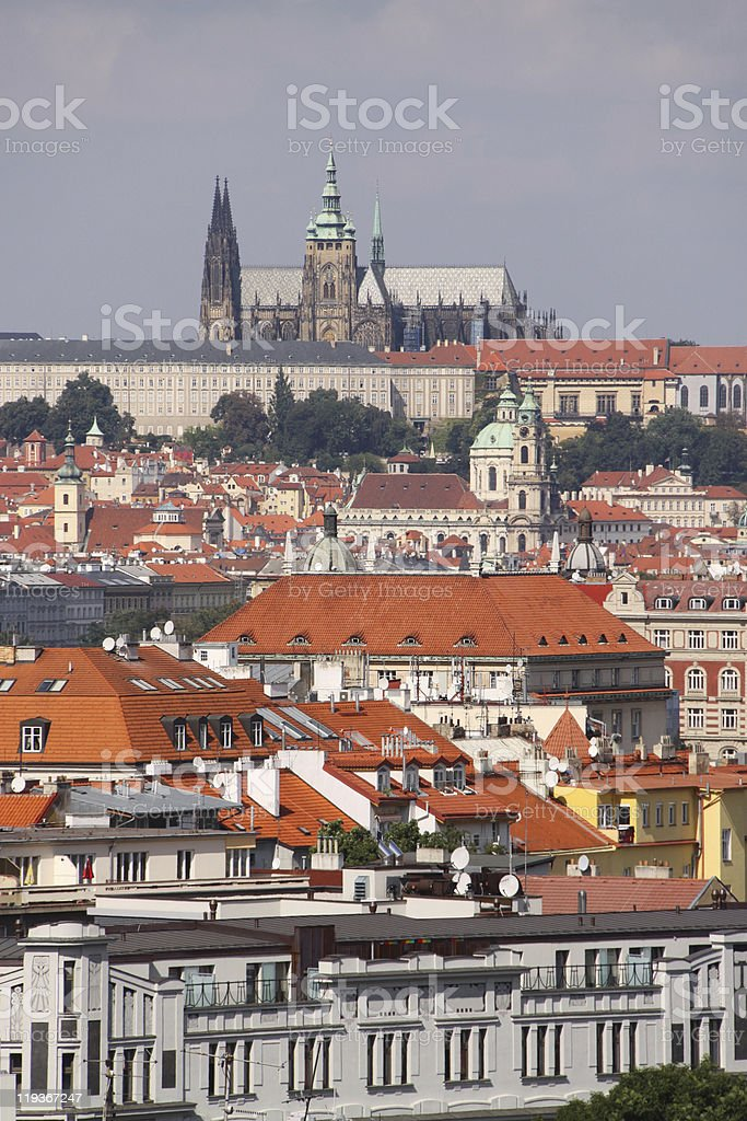 Vertical Prague cityscape royalty-free stock photo