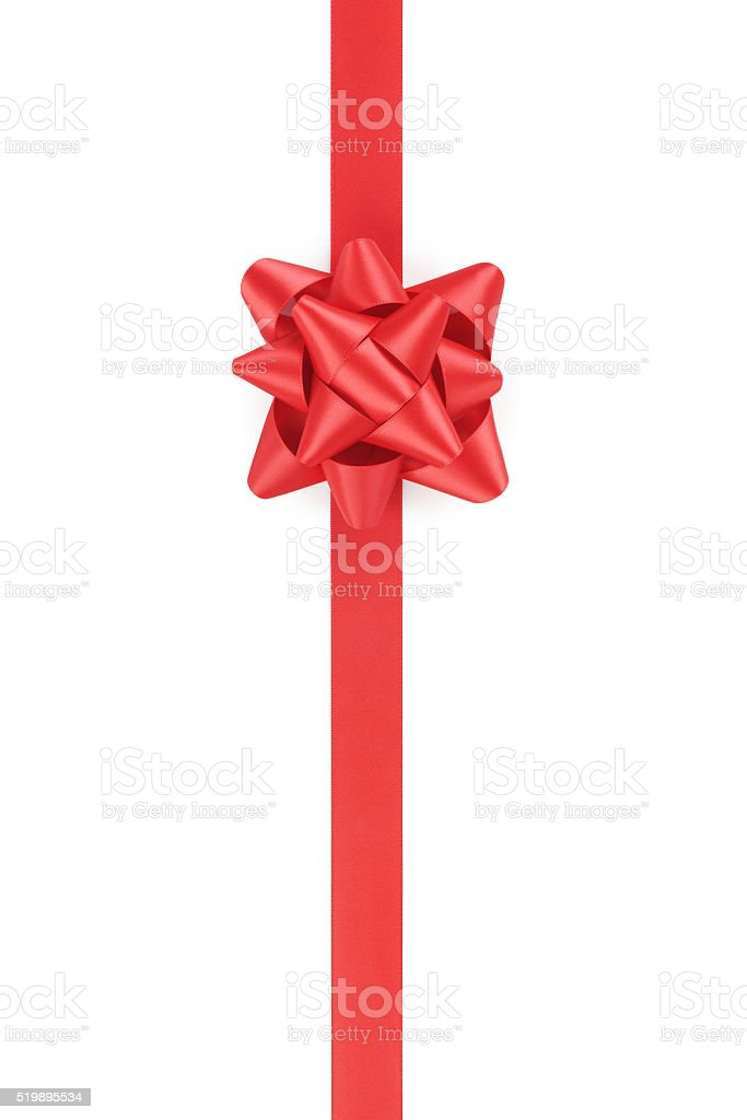 vertical red ribbon with gift bow isolated on white stock photo