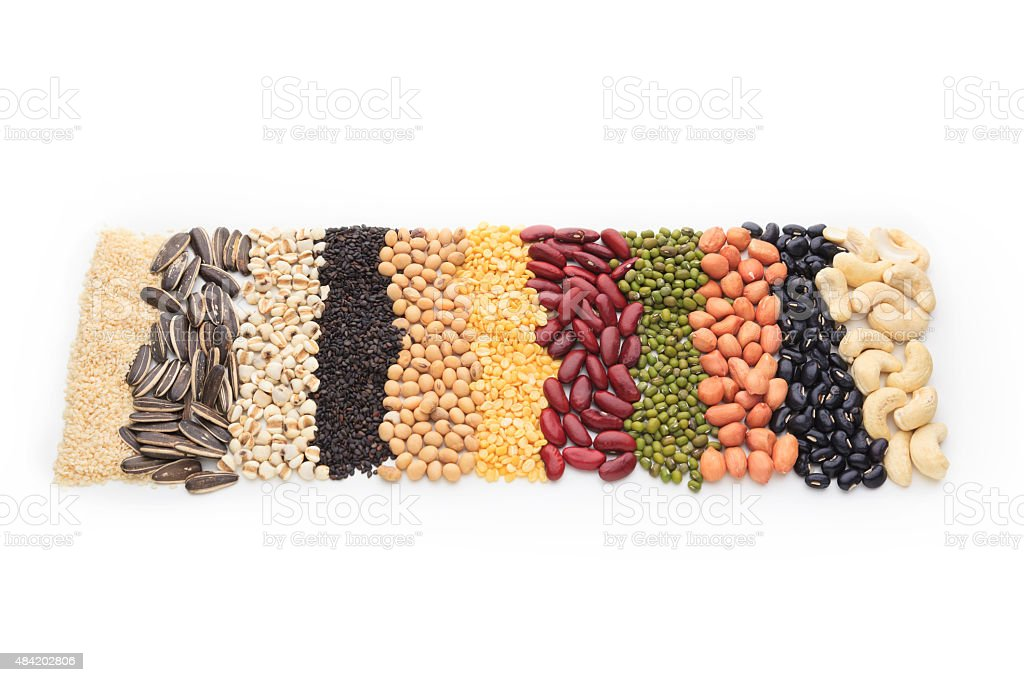 Vertical row of dry beans stock photo