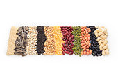 Vertical row of dry beans
