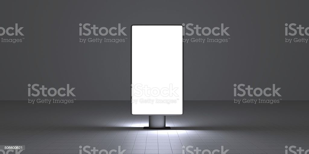 Vertical screen on dark background interiour night stock photo