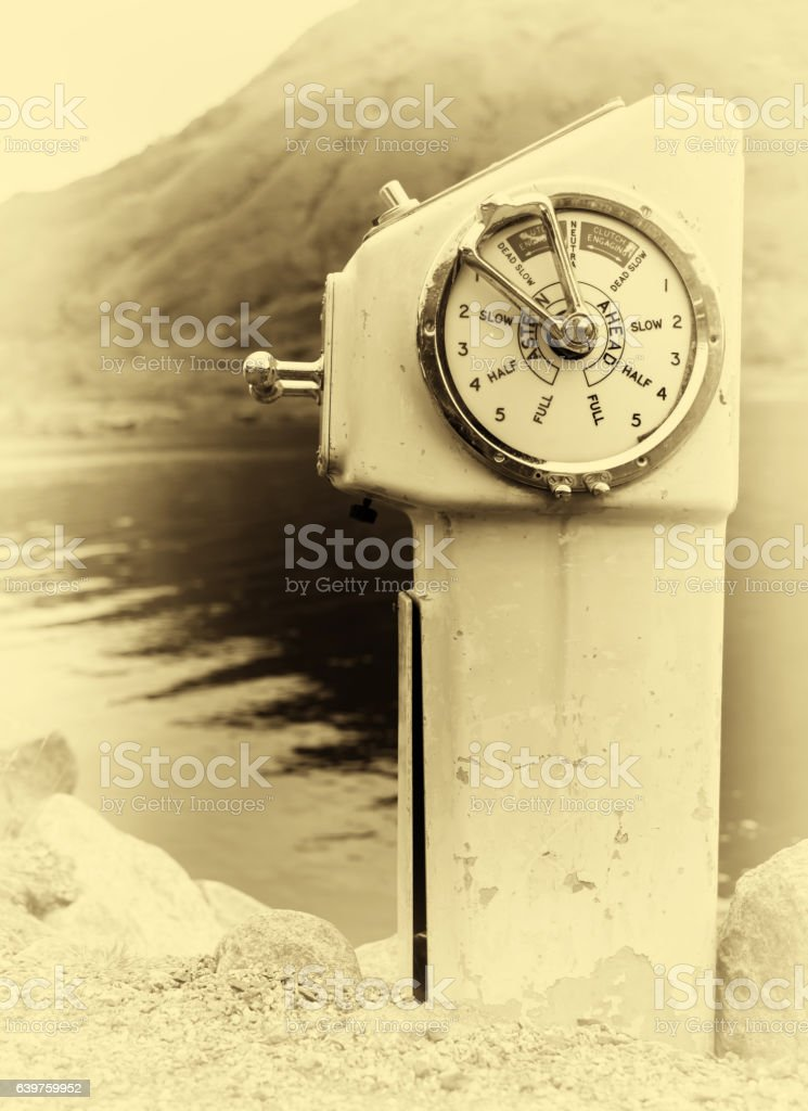 Vertical sepia vintage ship engine control background backdrop stock photo