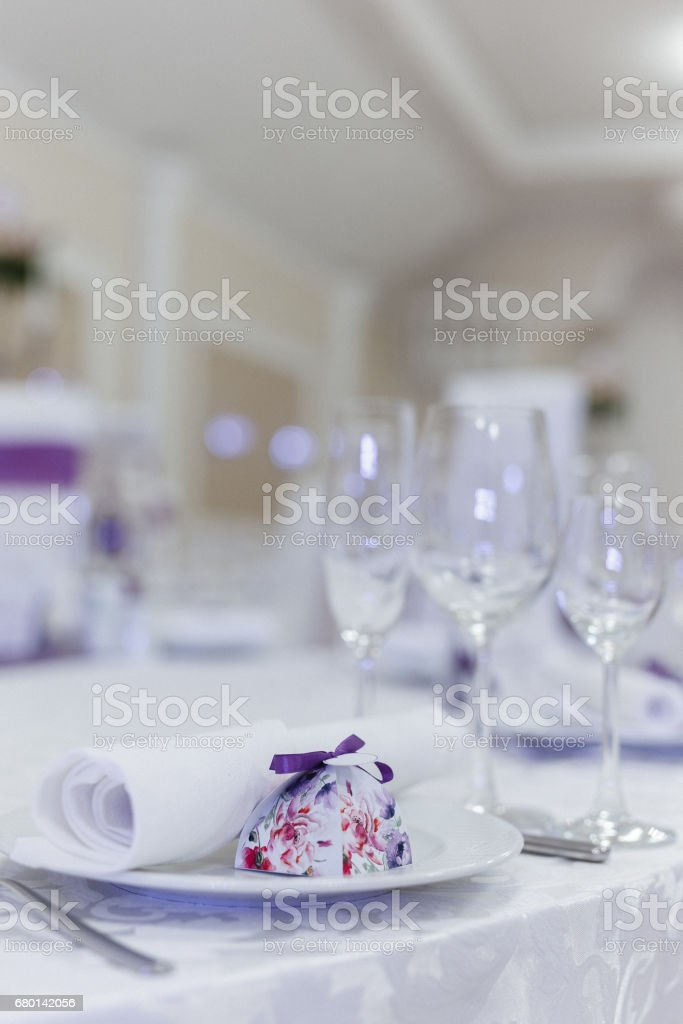 Vertical shot of a formal dinner service at a wedding banquet stock photo