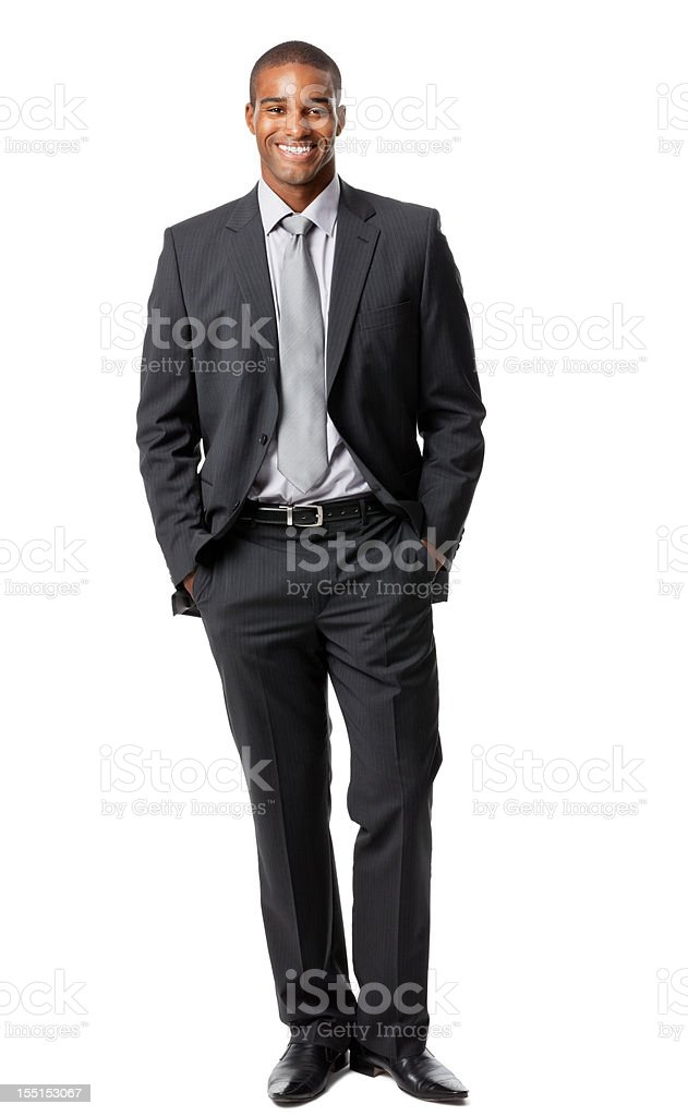 Vertical shot of a man with a white background stock photo