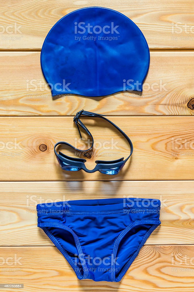 Vertical shot of children's clothes for sports swimming stock photo