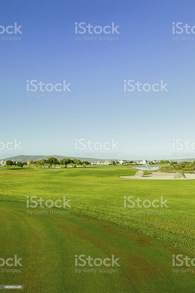 Vertical shot of the golf course in Langebaan royalty-free stock photo