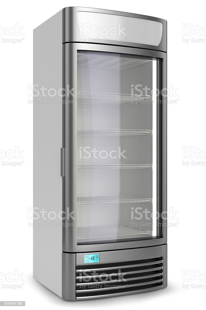 vertical showcase freezer refrigerator stock photo