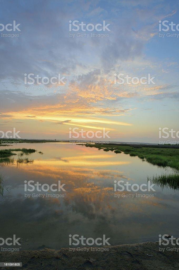 Vertical Sinepuxent Bay Sundown stock photo