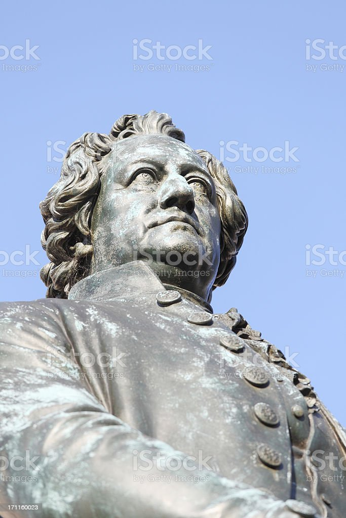 Vertical statue portrait of Goethe in Weimar stock photo