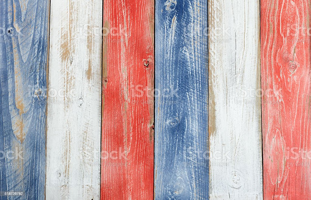 Vertical stressed boards painted in USA national colors stock photo