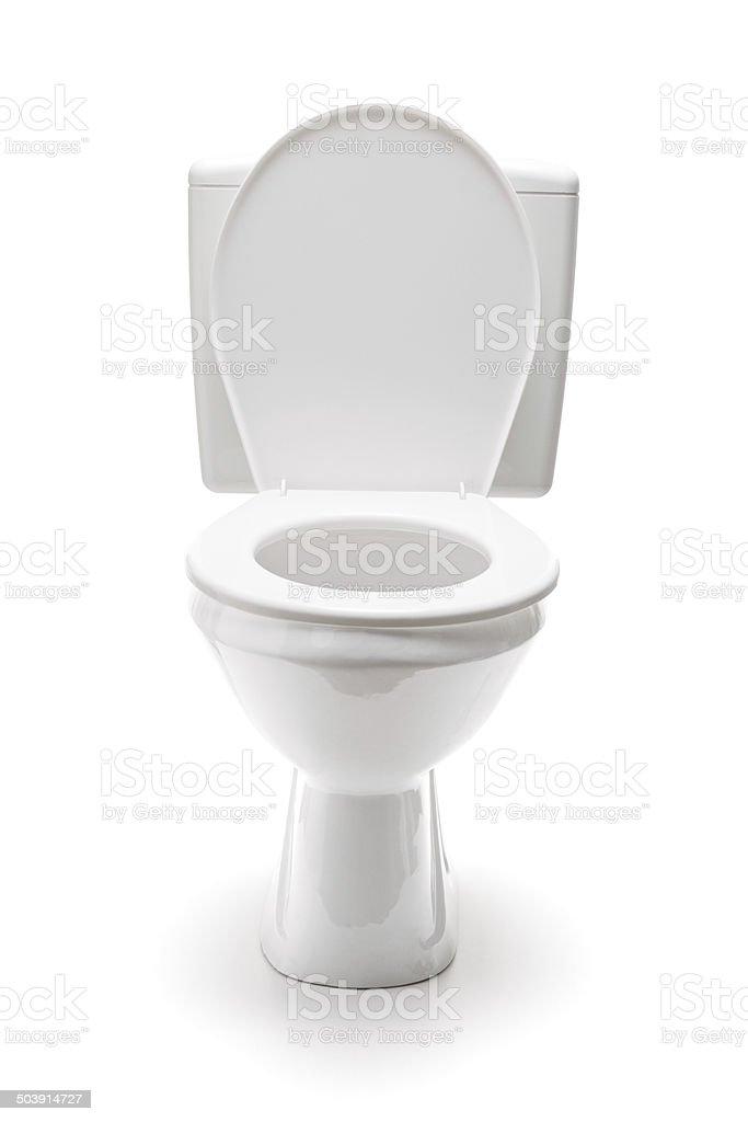 Vertical studio shot of a ceramic toilet bowl stock photo