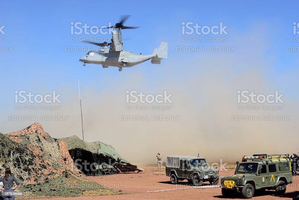 Vertical takeoff airplane hybrid V-22 Osprey. stock photo
