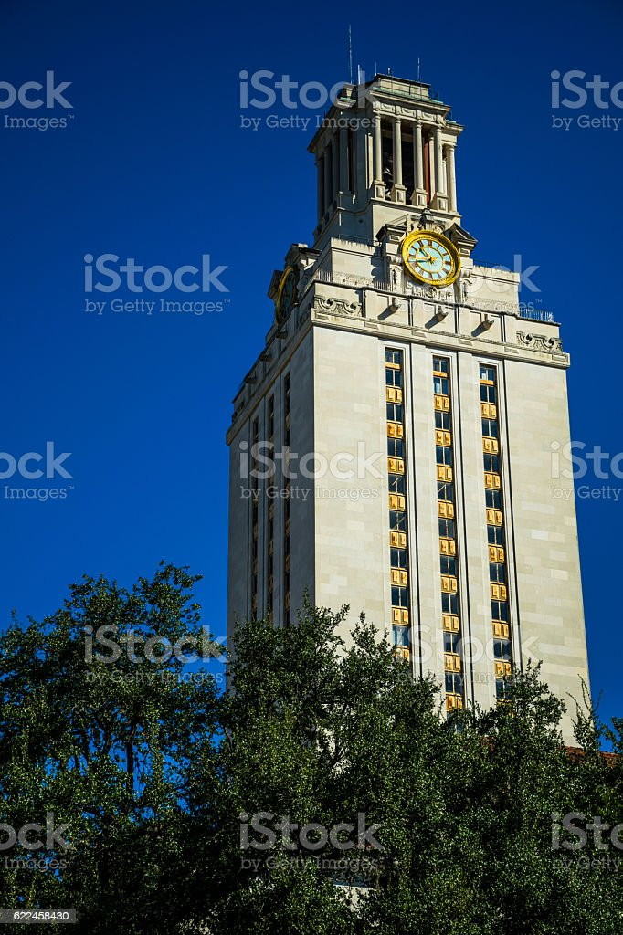 Vertical UT Clock Tower Austin Texas Landmark stock photo
