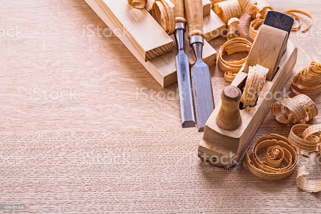 vertical version organized copyspace joinery tools old fashioned stock photo