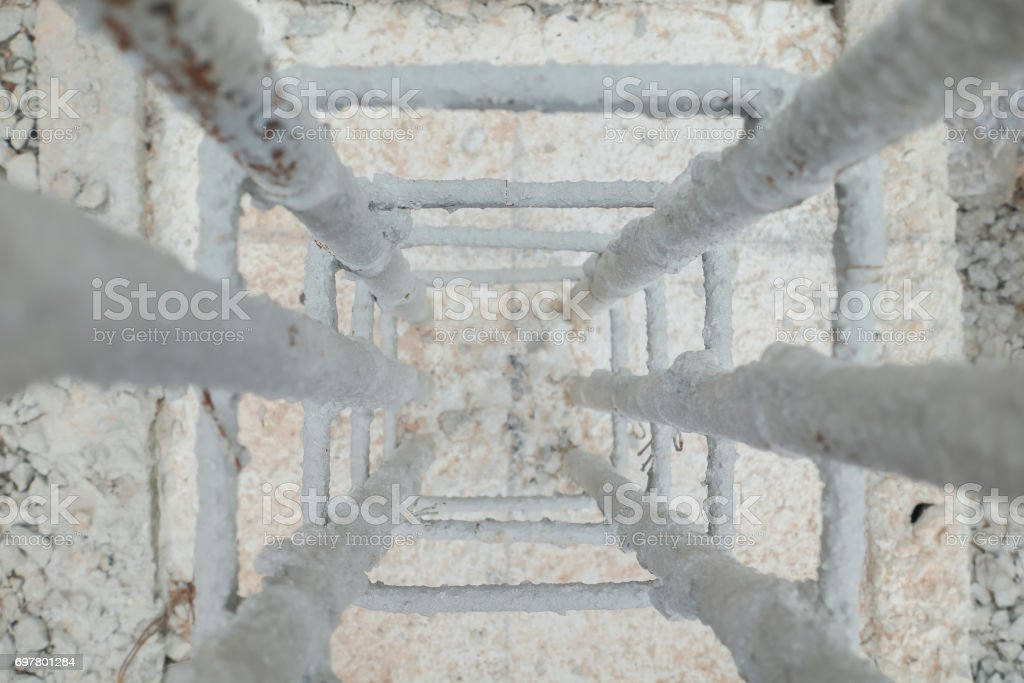 Vertical view for steel work at construction site stock photo