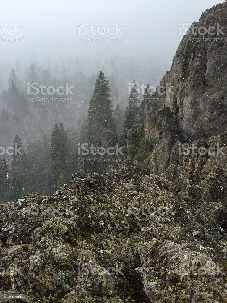 Vertical View from Eagle Rock in a Snowstorm royalty-free stock photo