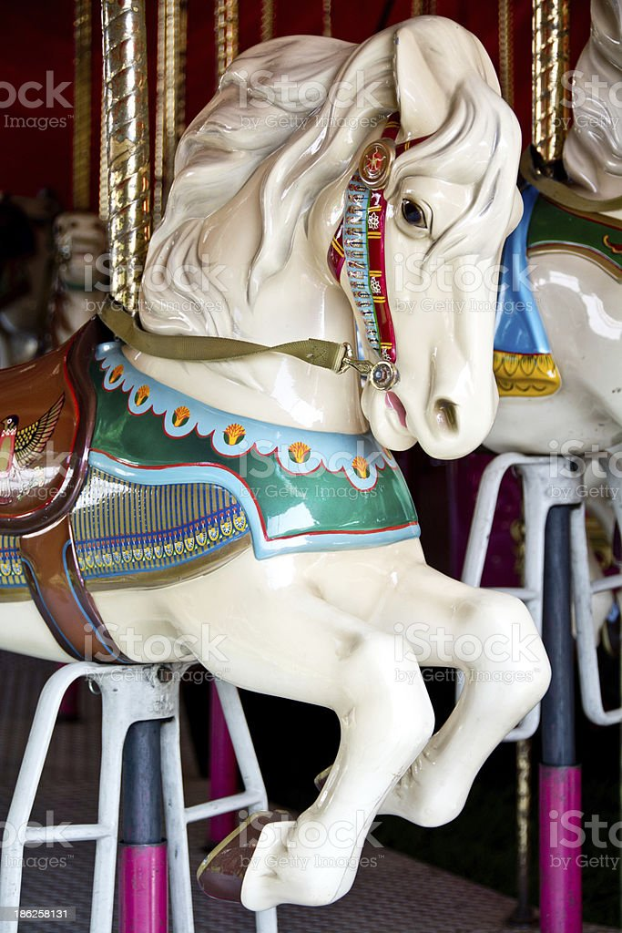 Vertical view of a carousel horse royalty-free stock photo