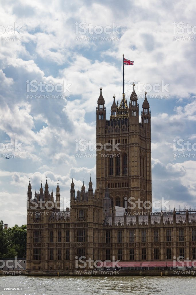 Vertical View of Back Tower of the Houses of Parliament stock photo