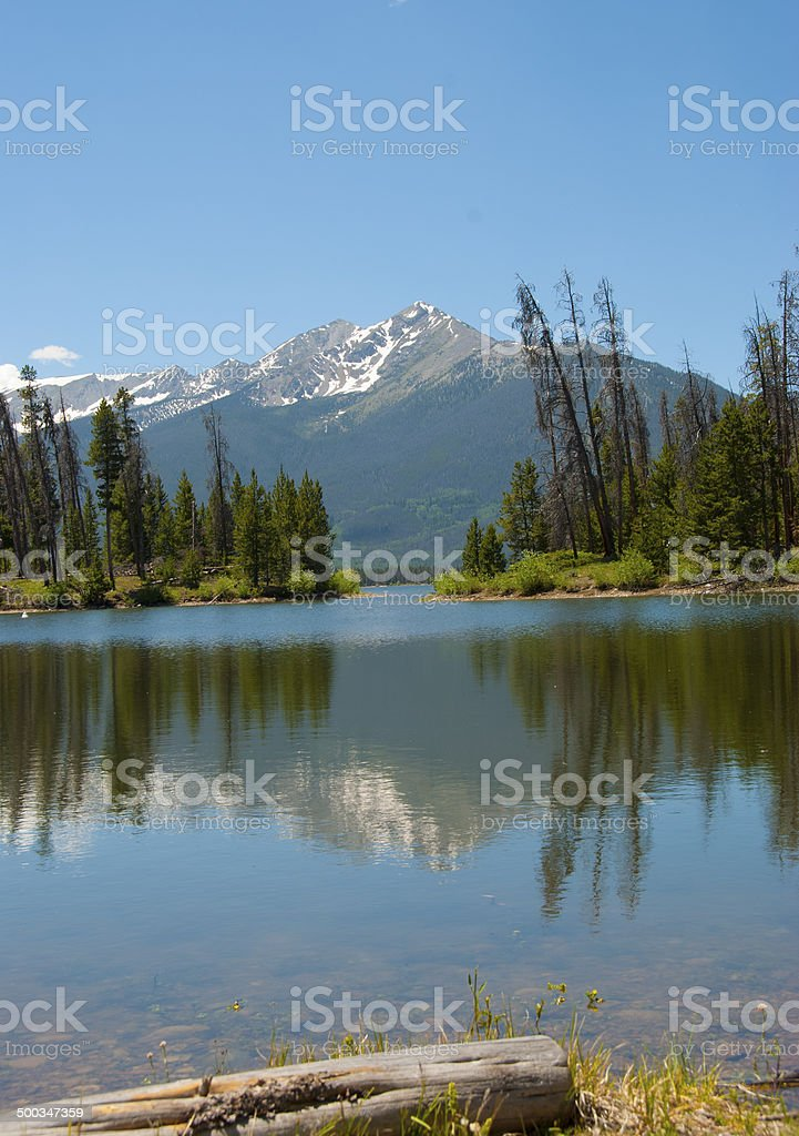 Vertical View of Lake Dillon Reservoir in the Summer stock photo