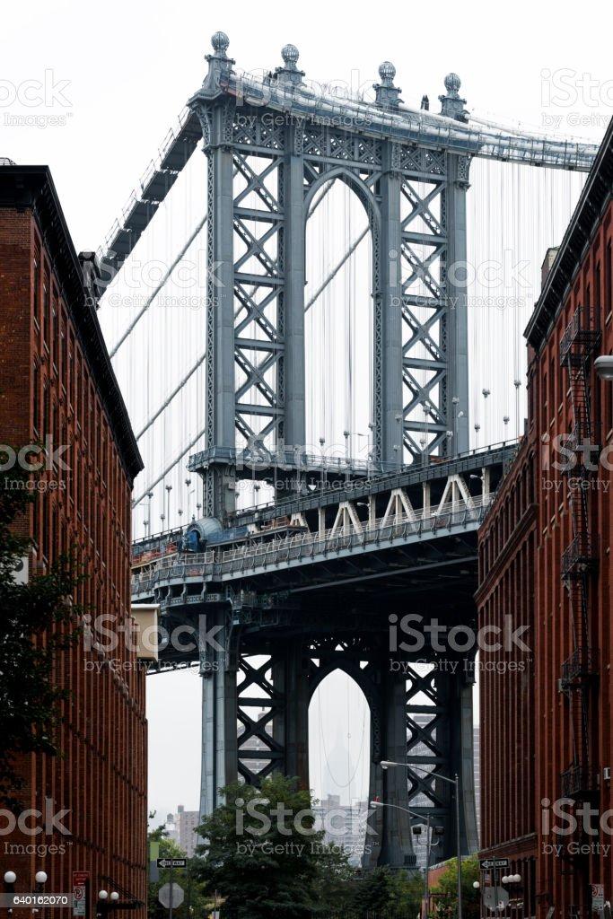 Vertical view of Manhattan Bridge in DUMBO, New York stock photo