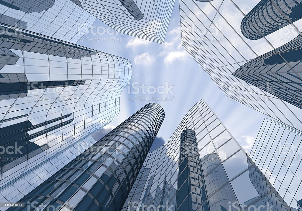 Vertical view of skyscrapers from the ground royalty-free stock photo