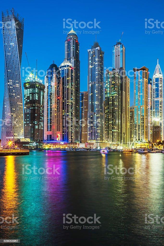 Vertical view of Skyscrapers in Dubai stock photo