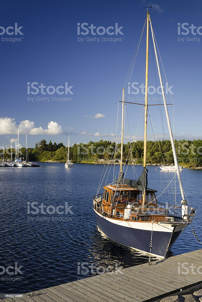Vertical view of styled sailboat royalty-free stock photo