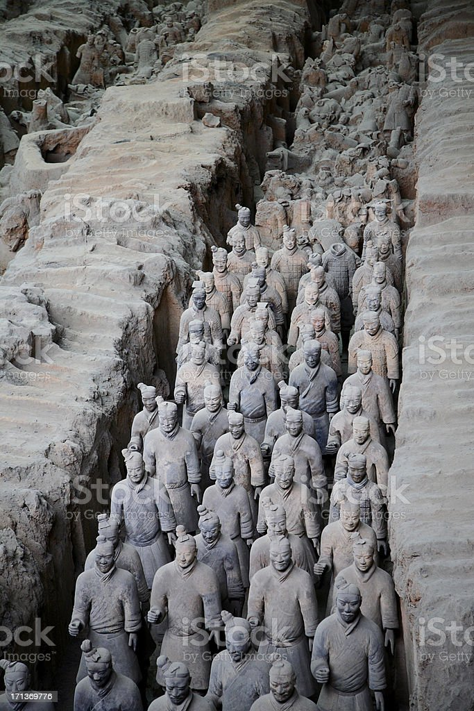 Vertical view of the China's ancient warriors stock photo